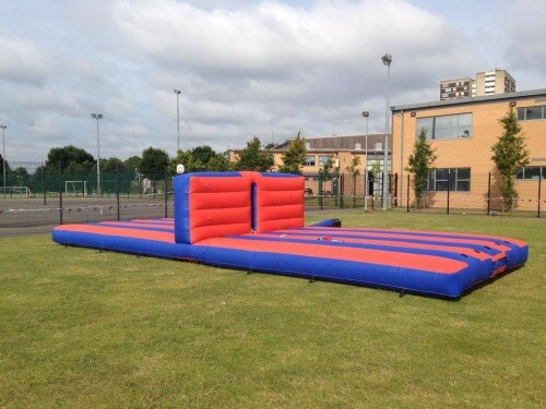 36 inch long inflatable bungee eliminator bed in a field