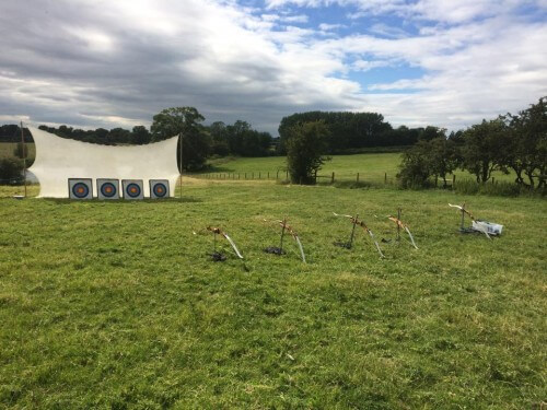 archery activity set with 5 bows and arrows and arrow boards