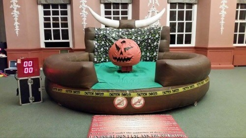 devilish halloween pumpkin rodeo ride with inflatable bed