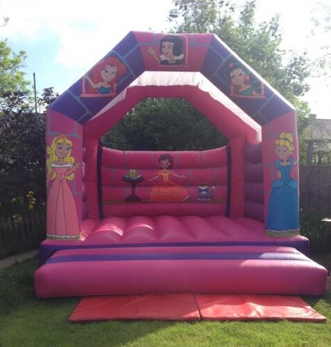 all ages pink and purple princess bouncy castle in a backgarden